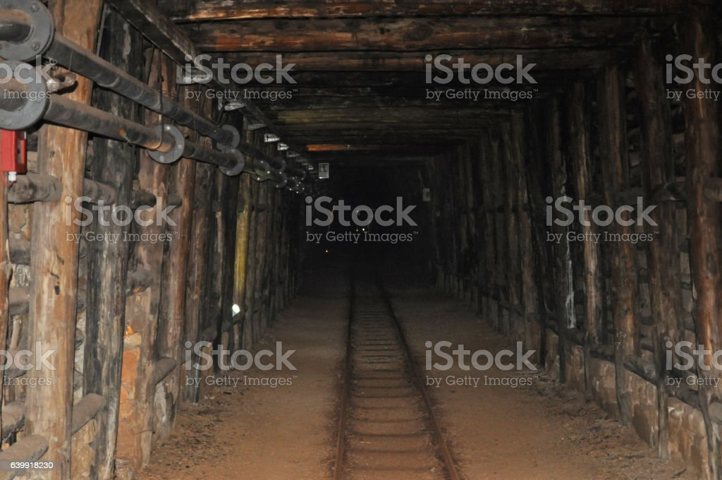 underground mine railway stock photo