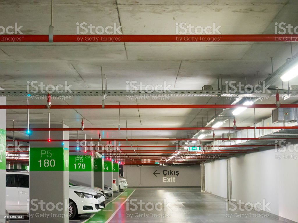 underground parking and Fire sprinkler stock photo