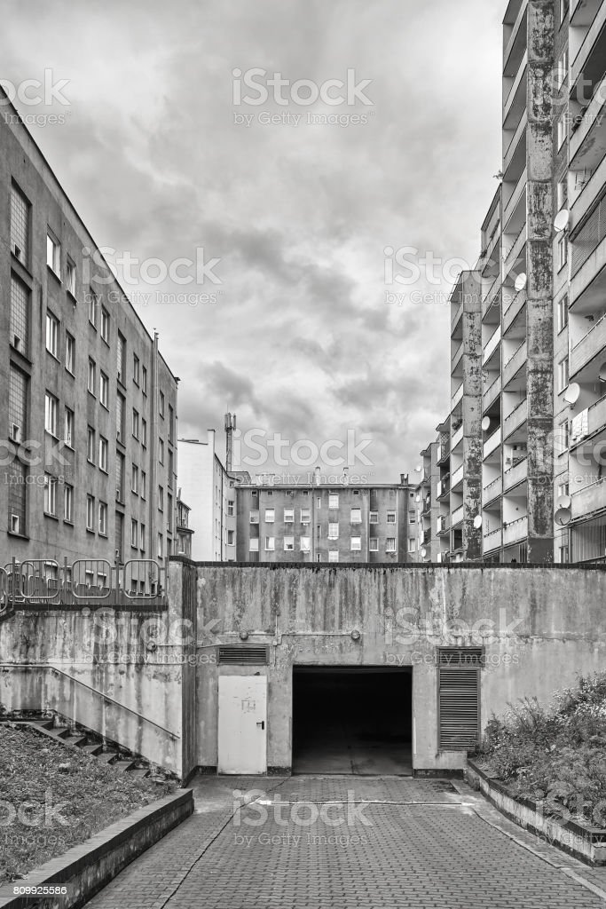Underground parking entrance in residential district. stock photo