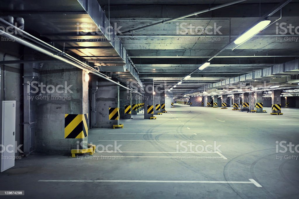 Underground parking garage stock photo