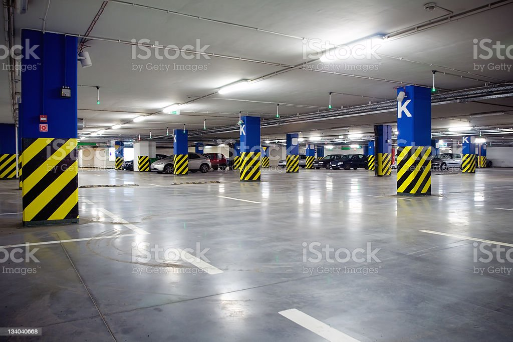 Underground  parking garage series... stock photo