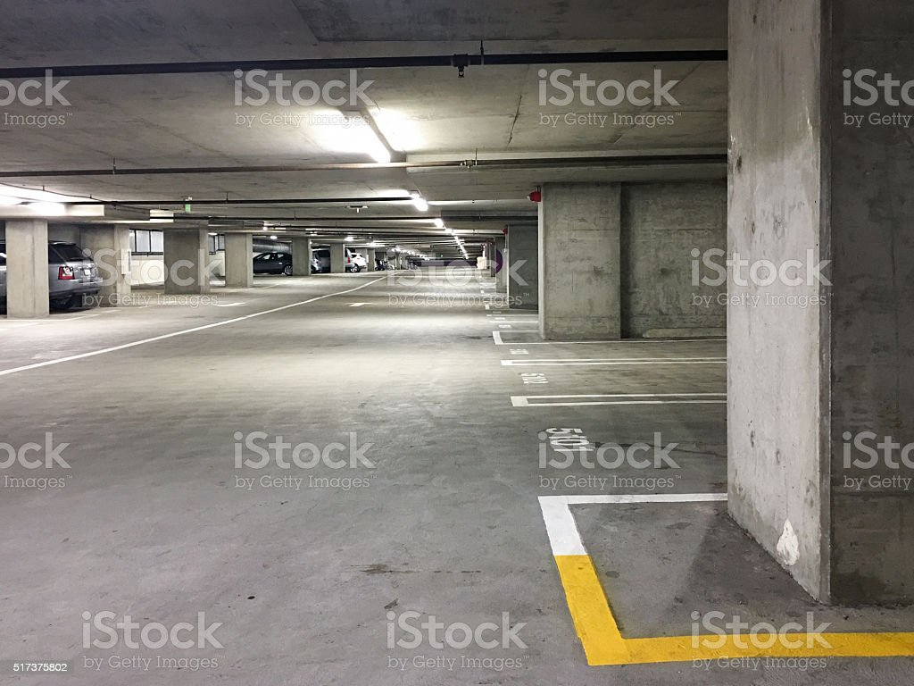 Underground parking garage/structure stock photo
