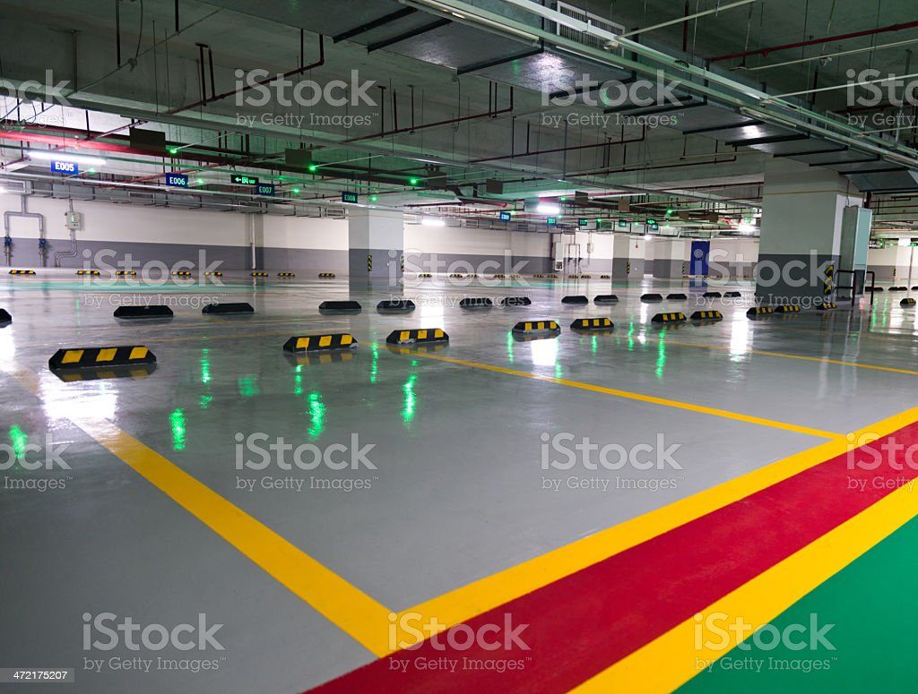underground parking lot stock photo
