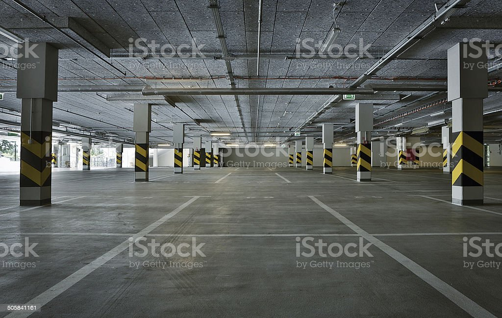 Underground parking stock photo