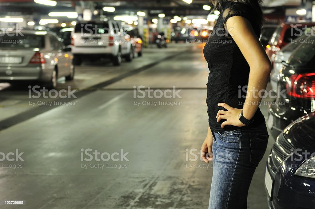Underground parking place story stock photo