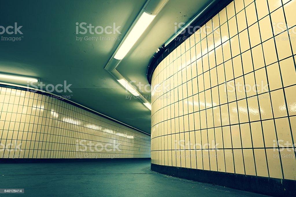 Underground passage from subway stock photo