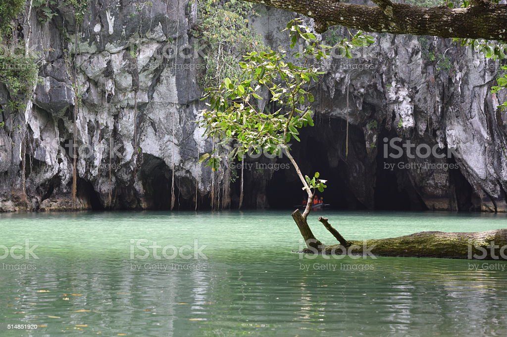 Underground river entrance. stock photo