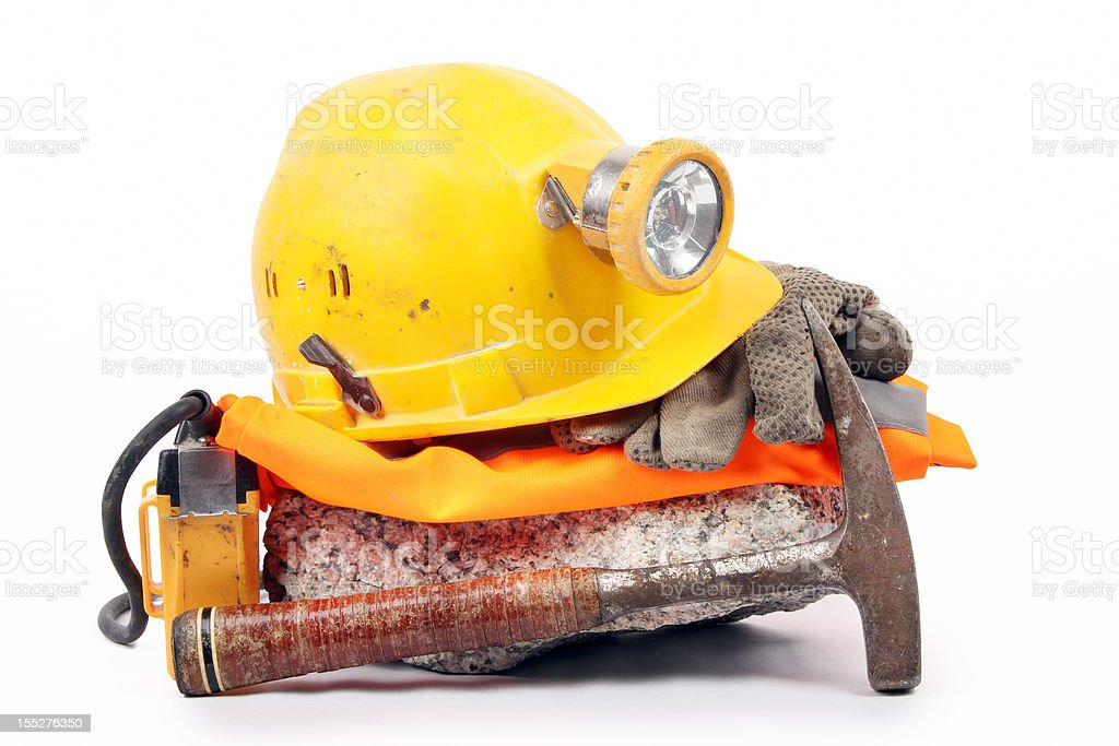 Underground safety gear stock photo