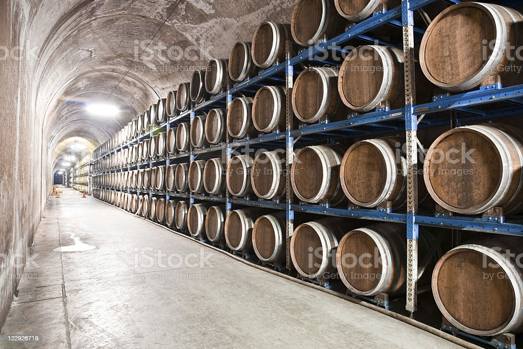 Underground saki (Japanese rice wine) cellar stock photo