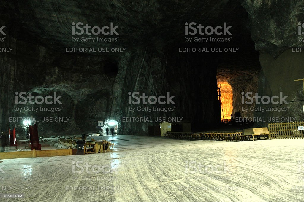 Underground salt mine stock photo