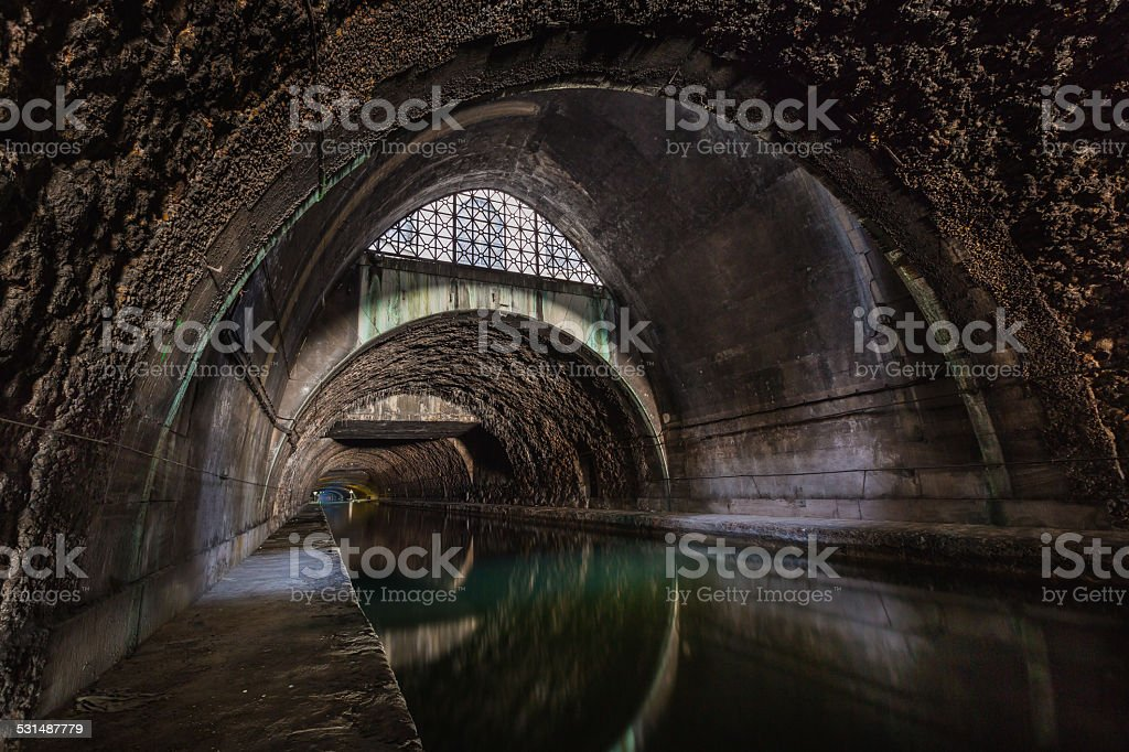 underground sewer canal stock photo