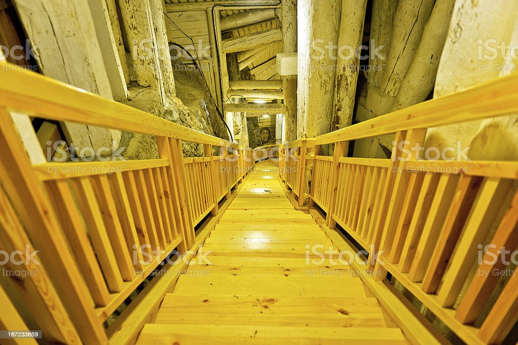 Underground Staircase in Salt Mine royalty-free stock photo