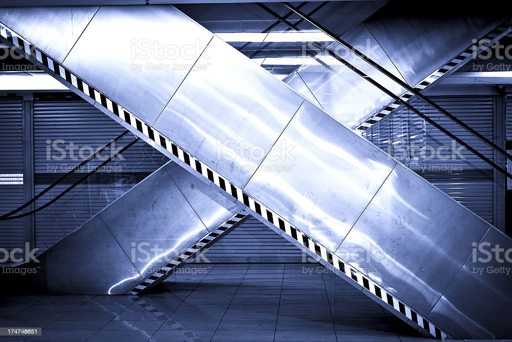 Underground Station Escalators royalty-free stock photo