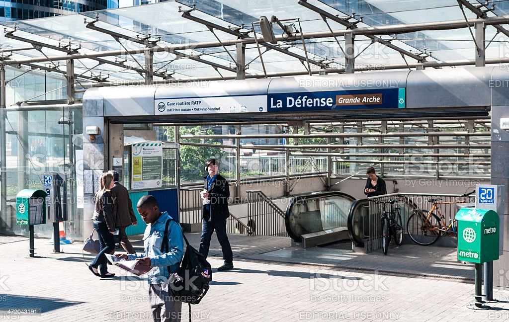 Underground station La Defense in Paris stock photo