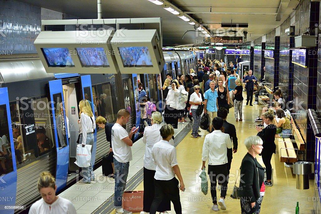 Underground station Slussen stock photo