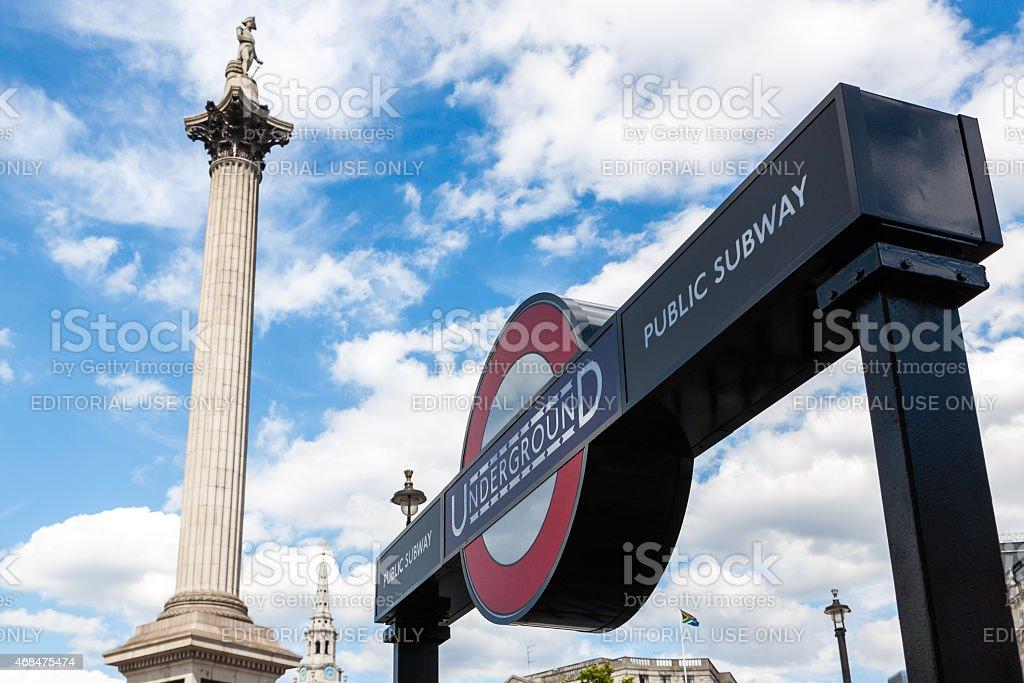 Underground stop and Nelson's Column in Trafalgar Square stock photo