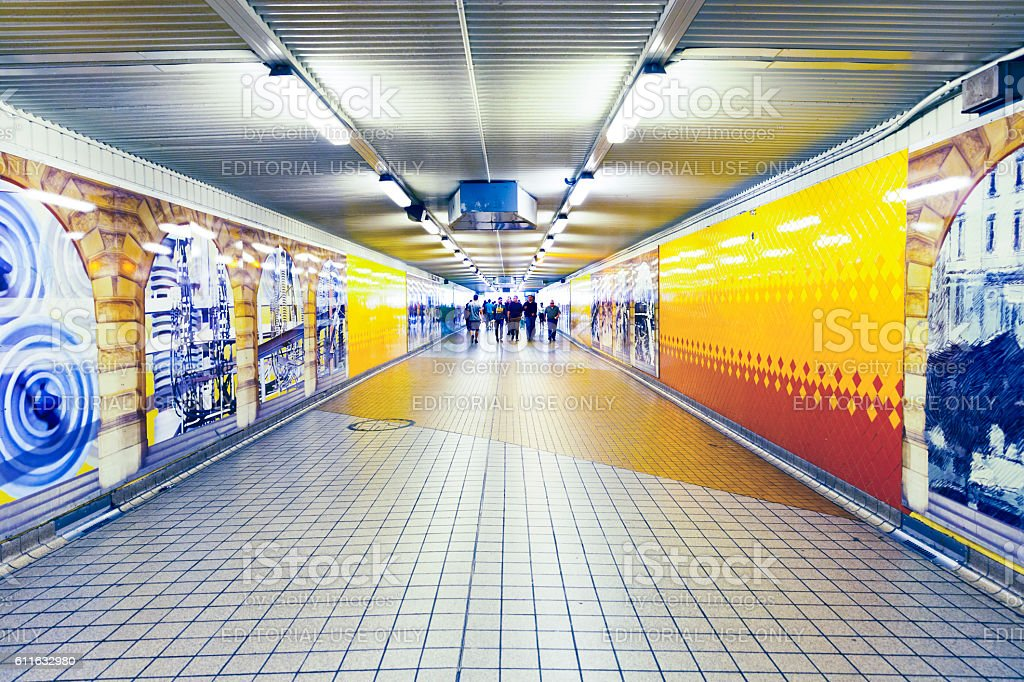 Underground subway in Central station with travellers, copy space stock photo