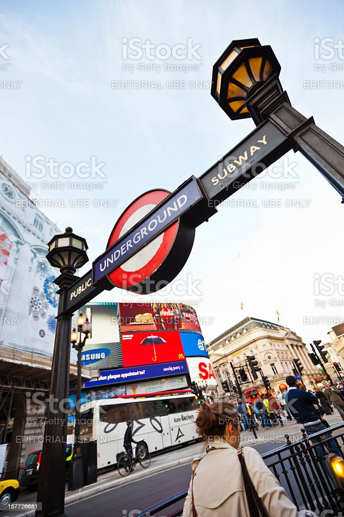 Underground subway station at Piccadilly Circus in London stock photo