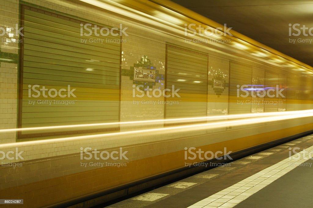 Underground train at Potsdamer Platz, Berlin royalty-free stock photo