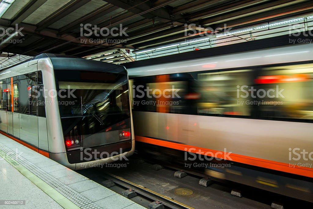 Underground trains stock photo