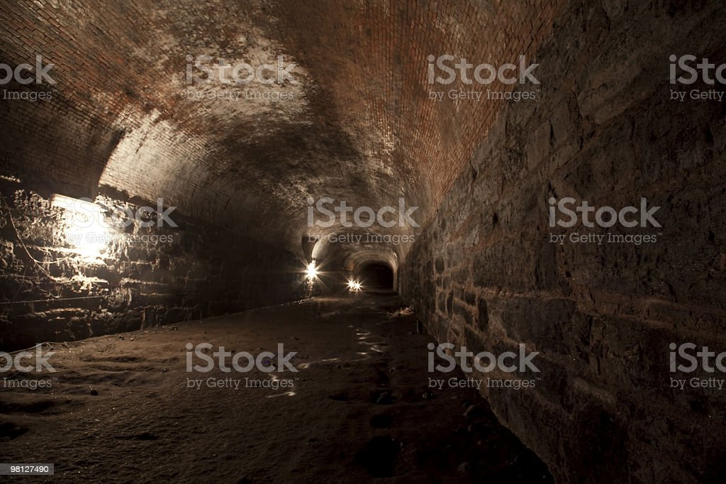underground tunnel below Atlantic Ave in Brooklyn royalty-free stock photo