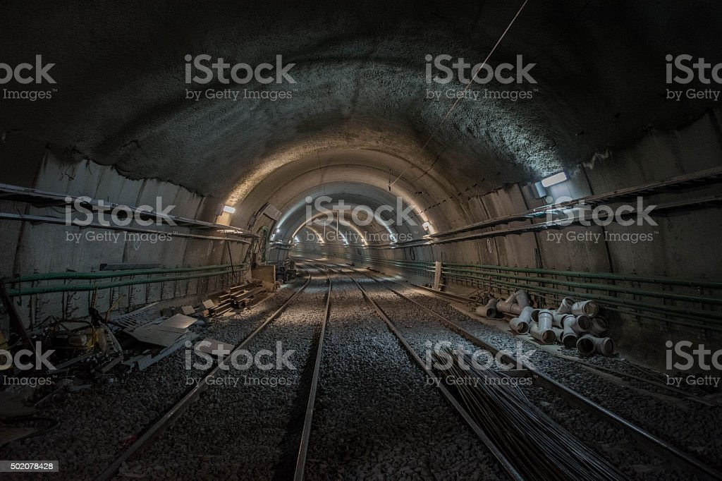 Underground tunnel construction stock photo