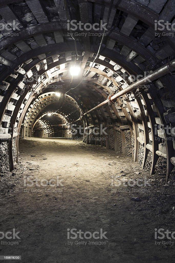 Underground tunnel in the coal mine stock photo