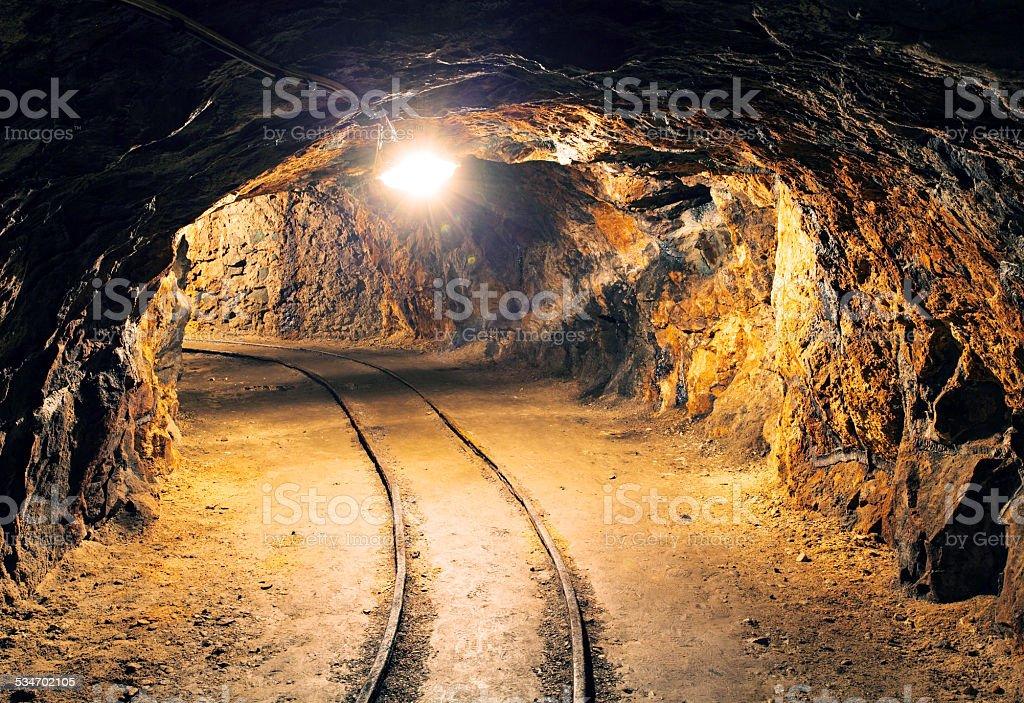 Underground tunnel in the  mine stock photo