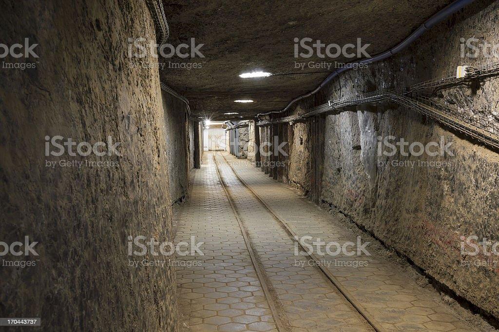 Underground tunnel in the Salt Mine royalty-free stock photo