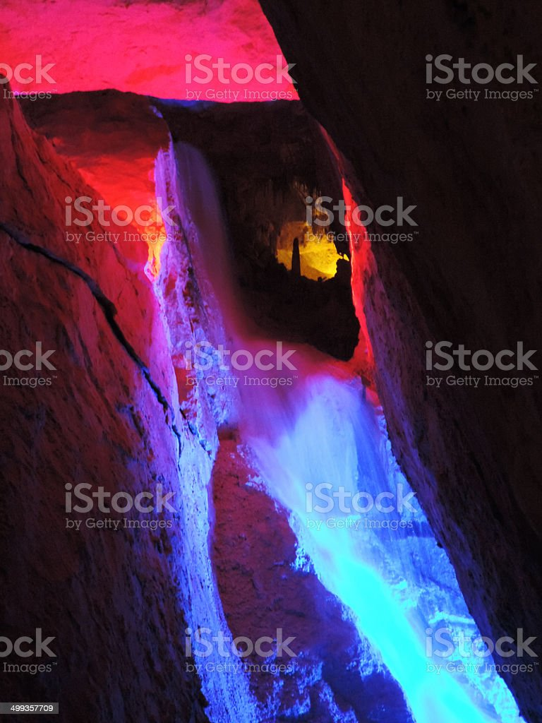 underground waterfall stock photo