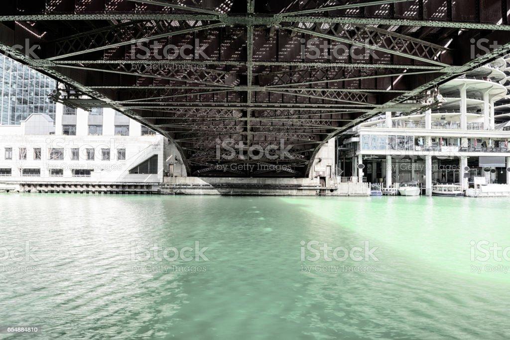 Undernearth Dearborn Street Bridge across Chicago River stock photo