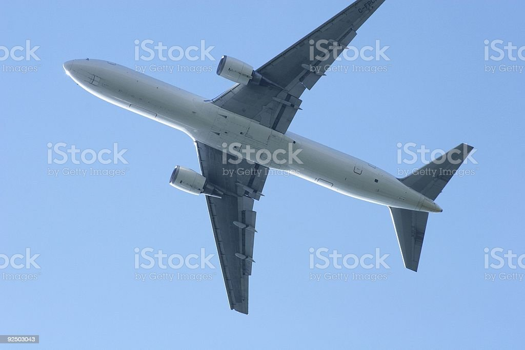 Underneath A Flying Jet stock photo