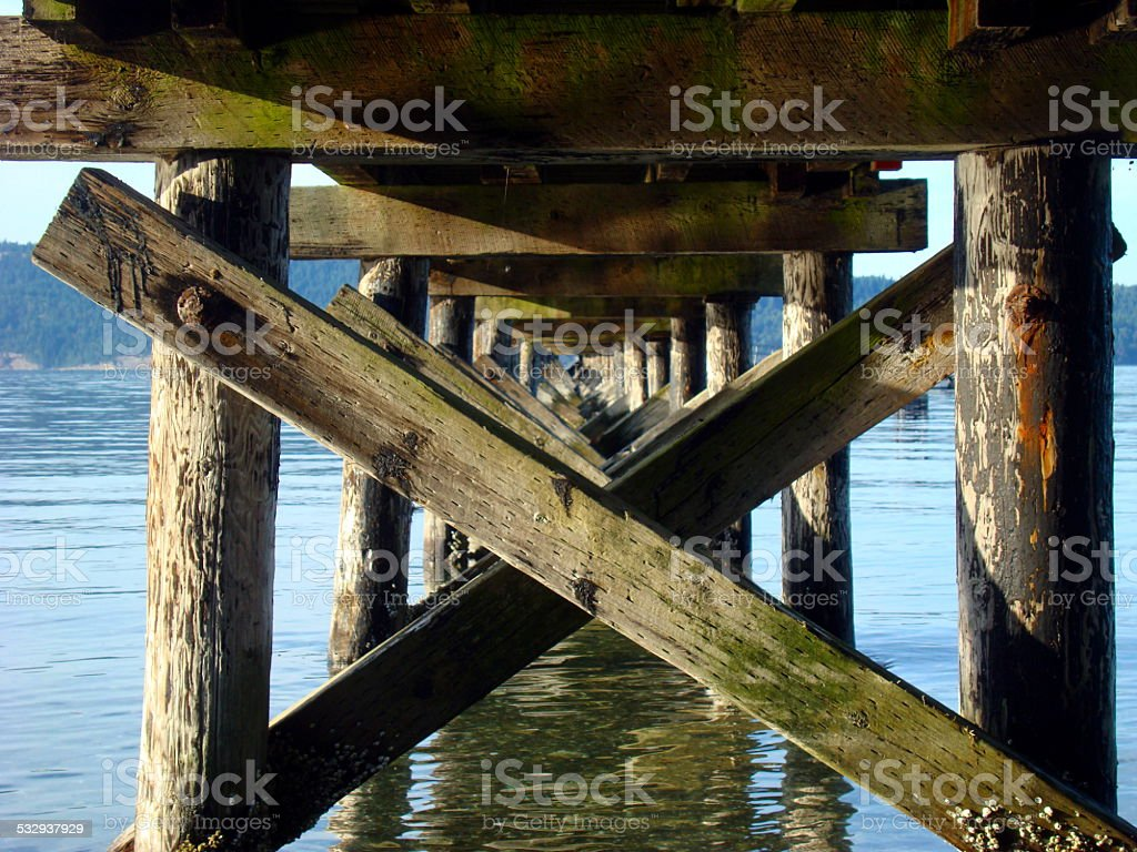 Underneath an Old Wooden Pier stock photo