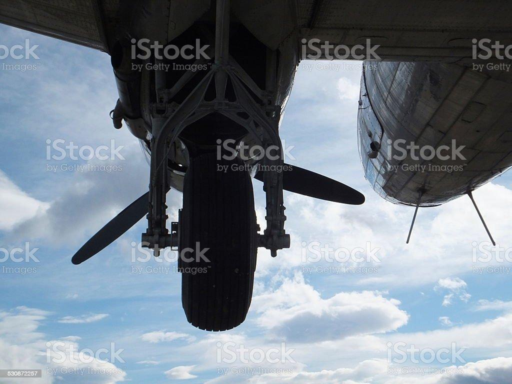 underneath Douglas DC-3 stock photo