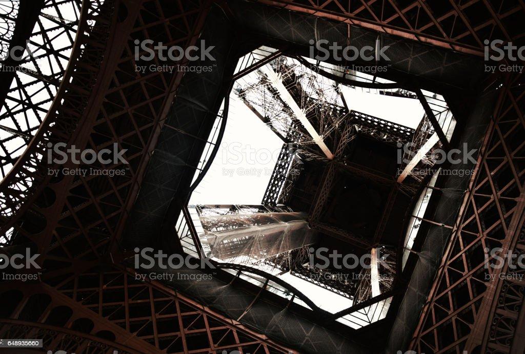 Underneath the Eiffel stock photo