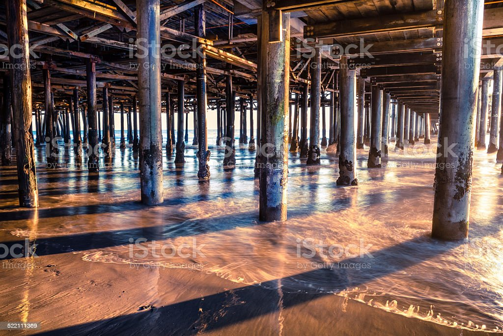 Underneath The Pier At Sunset stock photo