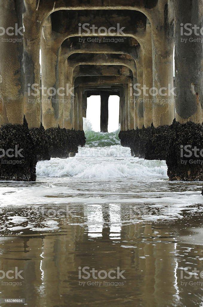 Underneath the pier stock photo
