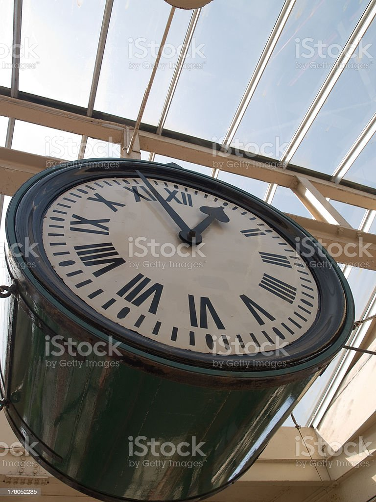 Underneath the railway station clock Carnforth royalty-free stock photo
