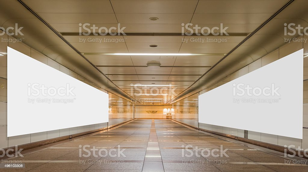 Underpass with blank billboard advertising wall for background. stock photo