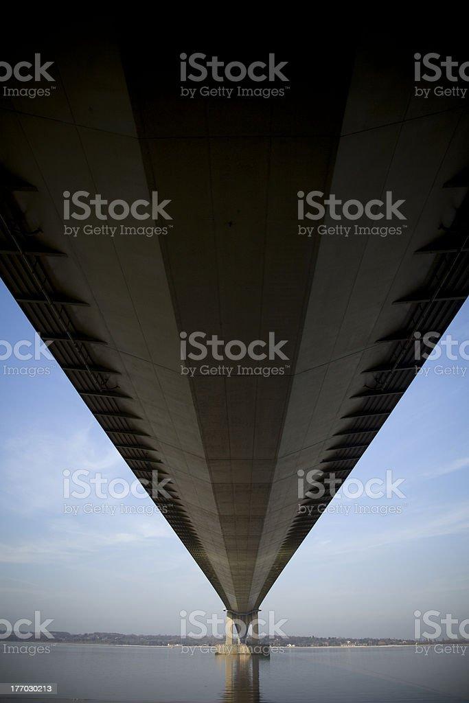 Underside of a Suspension Bridge over the Humber Estuary stock photo