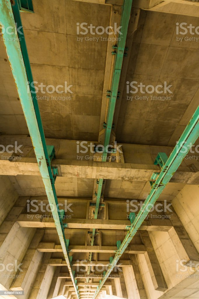 Underside of the Second Severn Crossing, bridge over Bristol Cha stock photo
