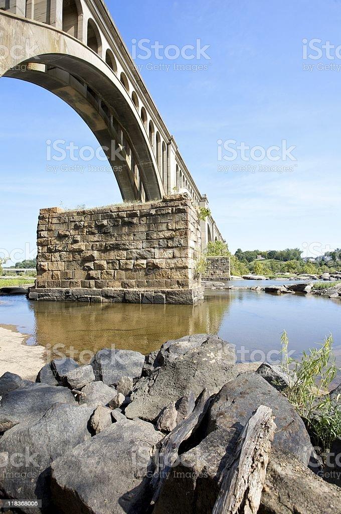 Underside of train bridge royalty-free stock photo