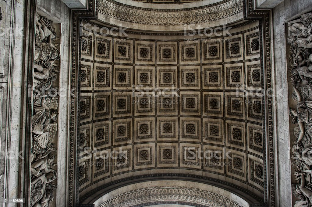 Underside Texture and Pattern of the Arc de Triomphe stock photo