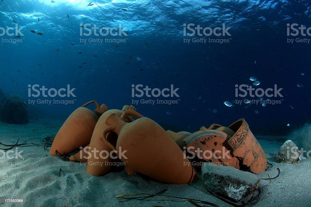 Underwater Amphorae stock photo