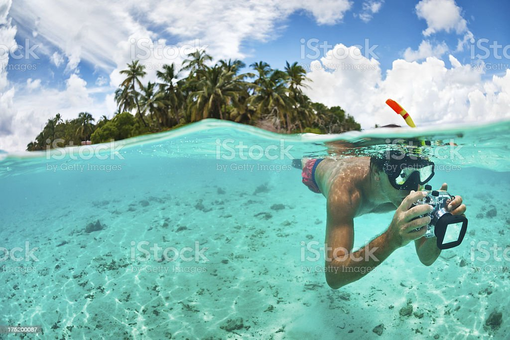 Underwater artist stock photo