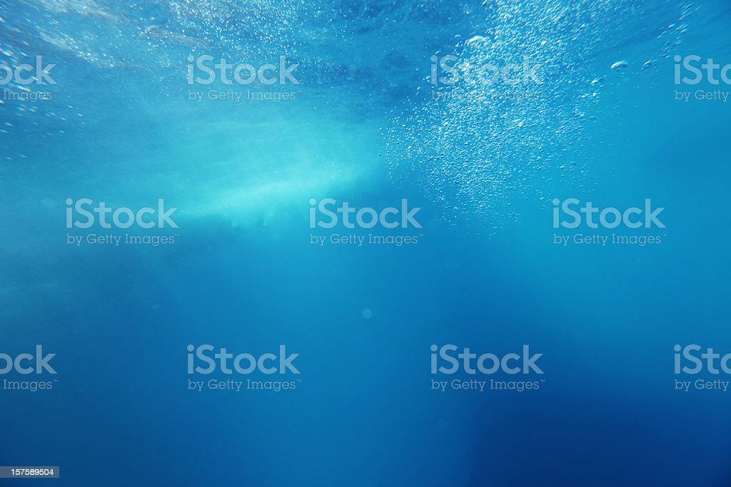 Underwater Background with Wave and Bubbles stock photo