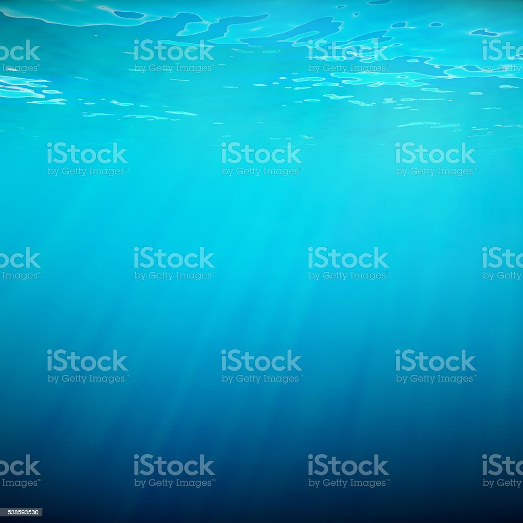 Underwater blue background in sea, ocean, with volume light. 3d stock photo