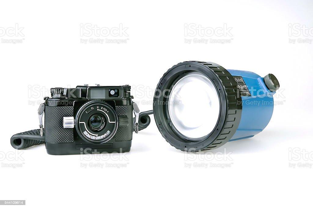Underwater Camera with flash... stock photo