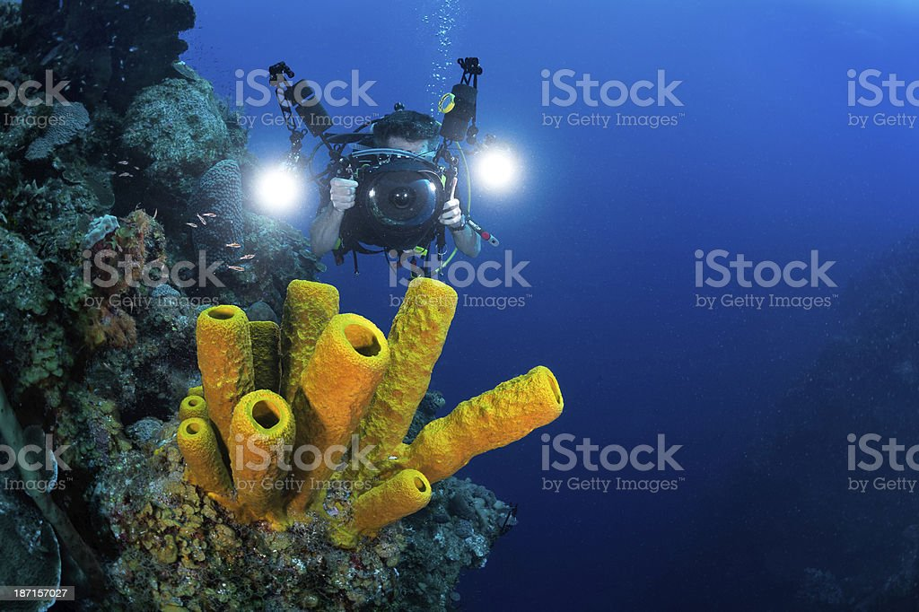 Underwater cameraman royalty-free stock photo