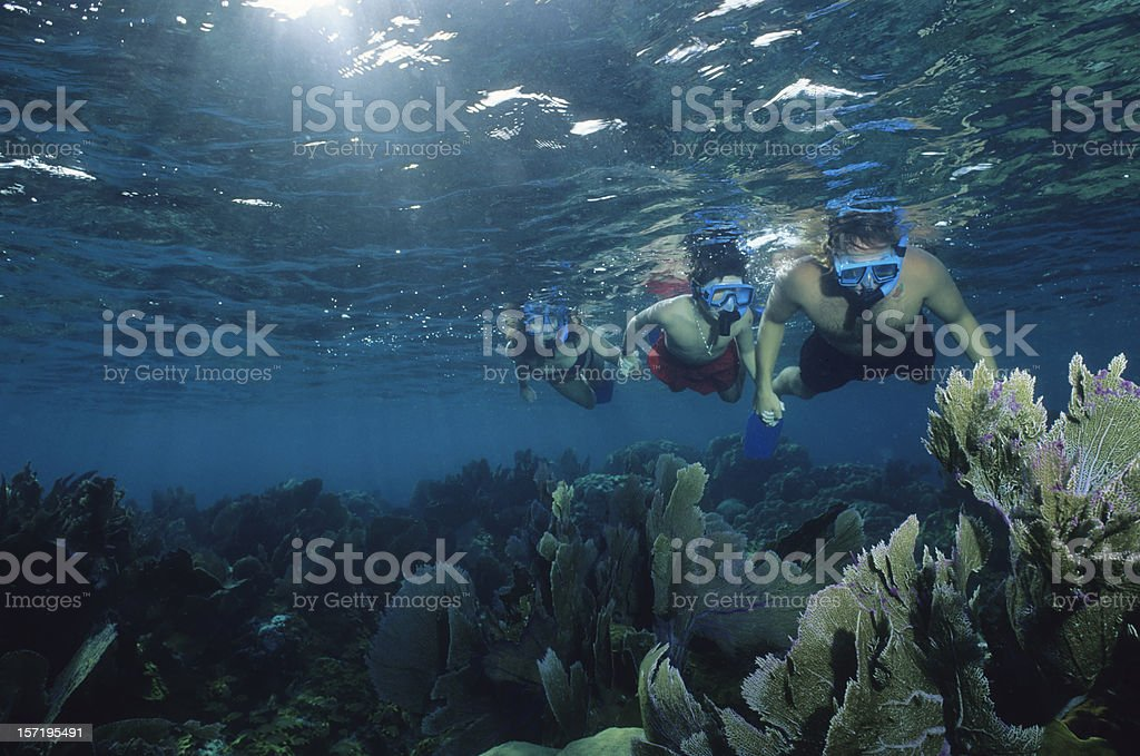 Underwater Family Snorkeling royalty-free stock photo